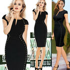 OL Womens Black Party Cocktail Evening Bodycon Pencil Business MIDI Work Dress