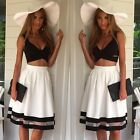 Sexy Women Colour Block Crop Tank Top Bralet+High Waist Pleat Flare Long Skirt