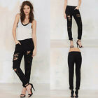 Sexy Lady Stretch Waist Hole Harem Denim Tassel Jeans Trousers Club Casual Pants