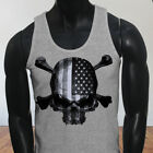 4th of July Independence day USA Flag Skulls Rebel Mens Gray Tank Top