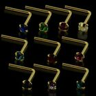 New Quality 9ct Solid Gold Nose Stud with 2mm Choice of Gem Colour 22g