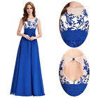 New BLUE Chiffon Long Prom Dresses Cocktail Party Formal Bridesmaid Evening Gown