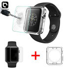 Apple Watch 1/2/3 Tempered Glass Screen Protector+Clear TPU Case for 38mm & 42mm