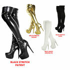 Ladies Womens Over Knee Thigh High Heel Stretch Suede Leather Boots Shoes, 3-8