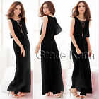 New Chiffon Sleeveless Long Dress Party Cocktail Evening Maxi Boho Beach Dress