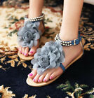 Sweet Women Floral Flat heel Casual Ankle Strap Summer Beach Sandal Thong Shoes