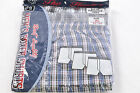 Men's New Cotton Blend Wide Elastic Waistband 3-Pack Plaid Boxers, XL (42-44)