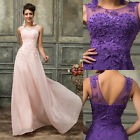 AU Size 6-20  Long Lace Dress Formal Wedding Bridesmaid Evening Prom Gown Party