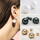 Fashion 1 Pair Man Made Double Pearl Earrings Ear Studs Jewelry Gift Ladies New