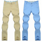 Eskaay Mens Stylish Classic Slim Fit Casual Pants Flat Front Chino Zip Trousers