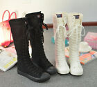 Fashion Womens girls knee high boots lace up canvas preppy sneakers shoes flats