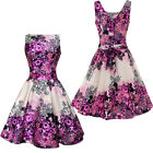 Lady V London Vintage Retro Purple Rose Floral Tea Dress Rockabilly Pin Up 50s