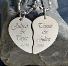 PERSONALIZED  SILVER STAINLESS STEEL SPLIT BROKEN HEART NECKLACE CUSTOM ENGRAVED