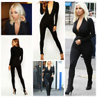 Celebrity Inspired Deep Plunge Dance Club Unitard Jumpsuit Size 6,8,10,12UK/2USA