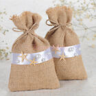 Burlap Gift Bags 12/24/60PCS Jewelry Pounches Hessian Wedding Favors Starfish