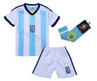 Argentina #10 Messi Home Kids Soccer Jersey + Shorts + Long Socks Youth Sizes