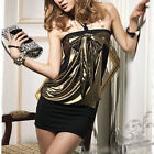 AU SELLER Sexy Gold&Black Halter Cocktail party Evening Mini Dress dr032