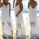 Ladies Lace Floral Splice Patchwork Straps Beach Backless Maxi Long Skirt Dress