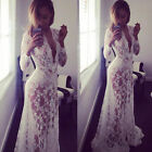 Women Party Clubwear Sexy Lace Floral See Through Cocktail Long Maxi Skirt Dress