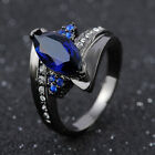 Size 6,7,8,9 Blue Sapphire Oval Cut Black 18K Gold Filled Woman's Wedding Rings