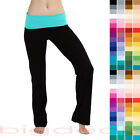 Rolldown Yoga Pants Contrast Waist Band Foldover Slim Stretch Bottom Lounge 114