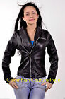 Women Violet Funnel Neck Leather Jacket Sz XS-3XL 12 Colors