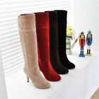 Fashion Womens Synthetic Leather High Thin Heel Shoes Knee Boots B014 US Sz4-7.5