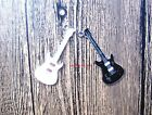 wholesale Black and white guitar Metal Charm Pendant DIY Necklace Jewelry Making