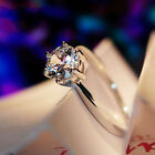 Classic Engagement Claw Ring White Sapphire 10K White Gold Filled Women Sz 5-12
