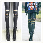New Women Black Faux Leather Punk Leggings Sexy Knee With Zipper Tight Pants