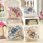 1x Linen Flower Printed Pillow Case Sofa Throw Cushion Cover Home Decor WWU