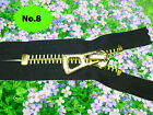 No 8   HEAVY DUTY BLACK ZIP/METAL GOLD TEETH CLOSED END.