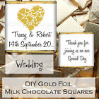 Personalised Wedding Day Milk Chocolate Gold Foil Square Favours Gifts WDLSC3