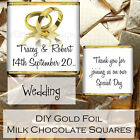 Personalised DIY Wedding Day Milk Chocolate Square Favours Gifts WDLSC20