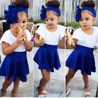 Baby Kids Girls Dress Short T-shirt + Short Skirt 2pcs Outfits Sets Dress 2-9Y
