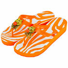 MISS TRISH LADIES DESIGNER WEDGE FLIP FLOPS - ORANGE/ORAN - LION UK SIZES 3 - 8
