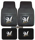 Milwaukee Brewers Car Mats 4 Pc Front and Rear Heavy Duty Vinyl