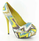 SPOT ON LADIES MUSTARD ZIG ZAG STILETTO HIGH HEELED COURT SHOES- F9528 CC