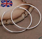 925 Sterling Silver Hoop Earrings Large Hooped Sleeper 50mm 5cm Ladies UK