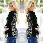 Fashion Women Sexy Long Sleeve Leopard Print Tops Chiffon Casual Blouse