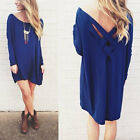 Boho Women's Backless T Shirt Beach Party Mini Dress Casual Long Top Blouse