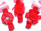 BABY GIRL HEADBANDS WITH LARGE COLOURFUL FLOWERS / ROSETTES