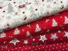 Fat Quarters Fabric Bundle Festive Christmas Stars Snowflakes Red Green Gold F32