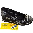 CHILDRENS GIRLS BLACK SLIP-ON WEDGE BUCKLE PUMP SCHOOL SEQUIN SHOES SIZES 10-5