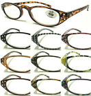 L196 Plastic Frame Diamante Fashion Reading Glasses+1.50+150+200+250+300+350+400