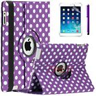 For Apple iPad 2 3 4 mini Air Premium PU Leather Smart Case Polka Dot Purple