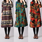 Casual Women Cotton Linen Floral Printed Long Sleeve Loose Tops Dress plus size