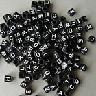 10 & 500 MIXED BLACK CUBE ACRYLIC ALPHABET LETTER BEADS SIZE 6x6mm