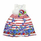 Girls Party Dress Size 4 6 7 Red White Stripe Blue Floral Summer Sun Flower