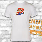 MARIO 8 BIT T-SHIRT, COOL GAMER DESIGN - GAMING - WHITE GILDAN SOFTSTYLE - RETRO